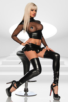Wetlook-Metallic-Stockings OS schwarz