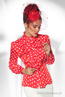 Rockabilly Bluse XS-S rot/weiss